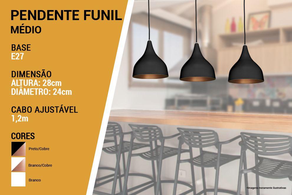 Kit 3 Pendente Funil Grande em Alumínio Preto/Cobre