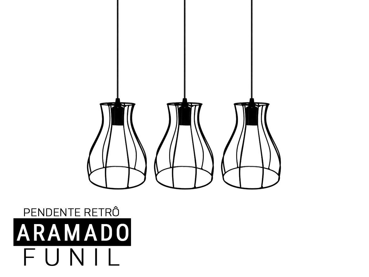 Kit 3 Pendentes Aramado Funil  Retro - Preto