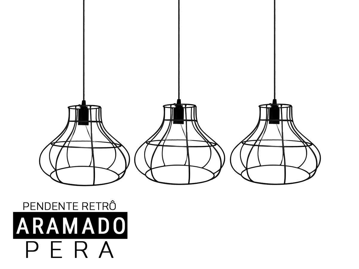 Kit 3 Pendentes Aramado PERA Retro - Preto