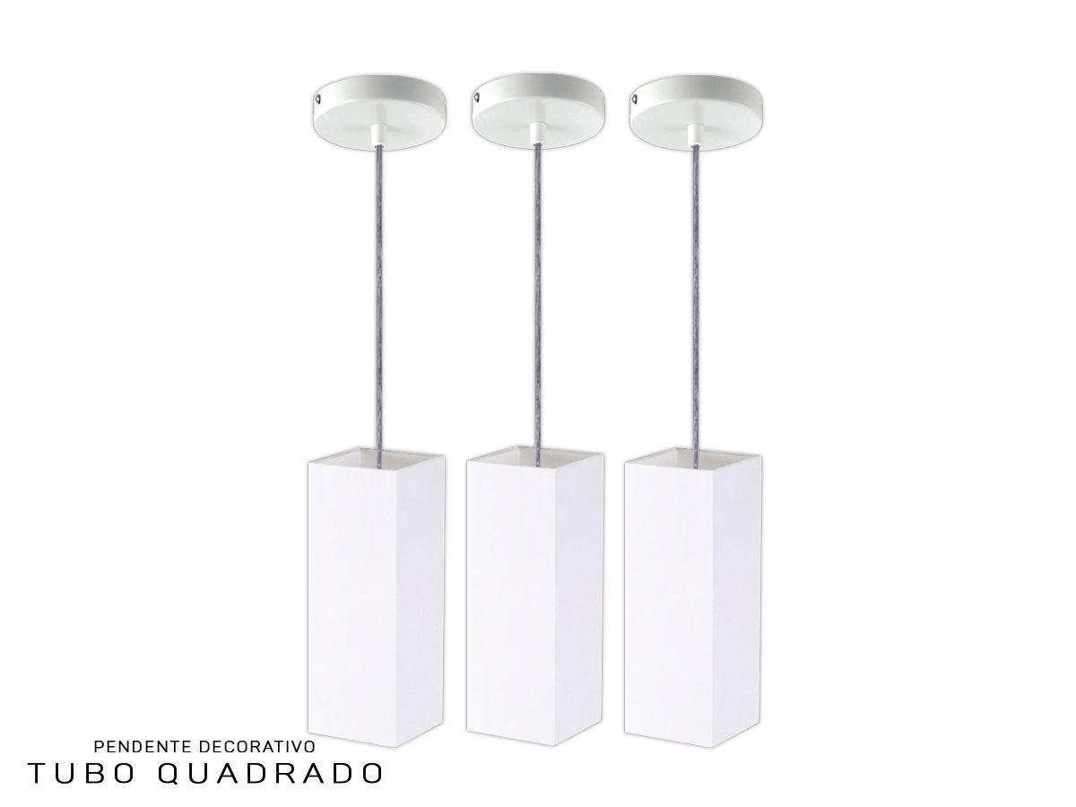KIT 3 Pendentes Tubo Quadrado 100% Alumínio com LED Alta Qualidade