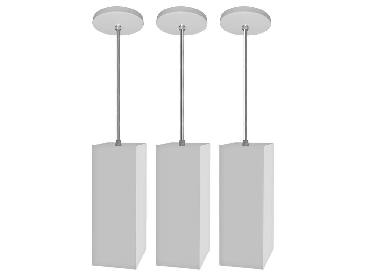 Kit 3 Pendentes Tubo Quadrado Mini Canopla para Bancada Cozinha + LED