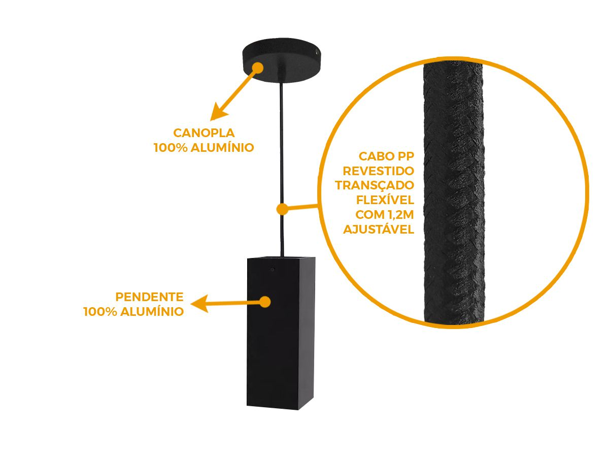 KIT 3 Pendentes Tubo Quadrado para Bancada Cozinha 100% Alumínio