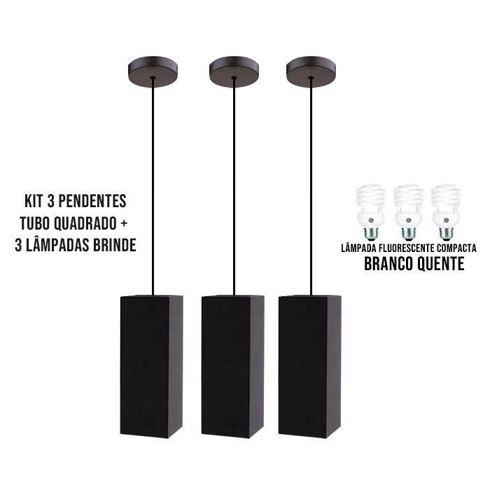 3 Pendentes Tubo Quadrado  para Bancada Cozinha+ 3 Lâmpadas Brinde