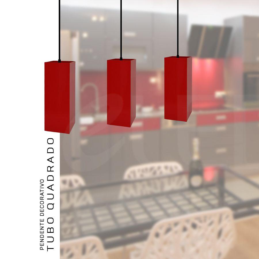 Kit 3 Pendentes Tubo Quadrado  para Bancada Cozinha