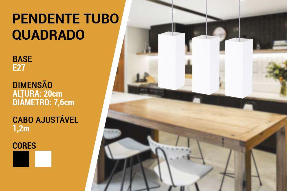 KIT 3 Pendentes Tubo Quadrado para Bancada Cozinha Branco 100% Alumínio Alta Qualidade