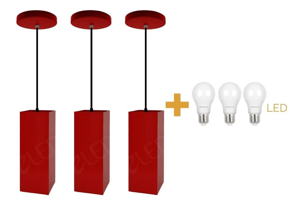 Kit 3 Pendentes Tubo Quadrado  para Bancada Cozinha + Led