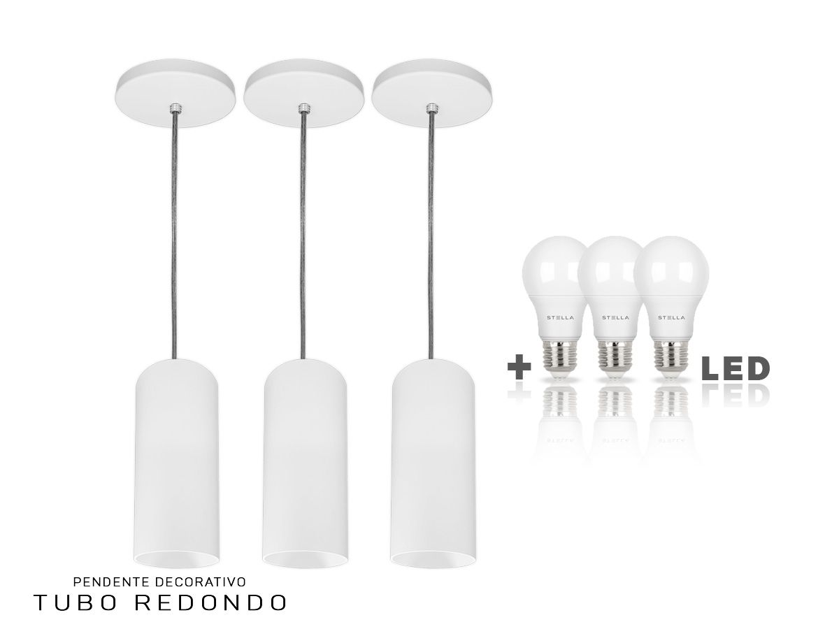 KIT 3 Pendentes Tubo Redondo para Bancada Cozinha 100% Alumínio + LED