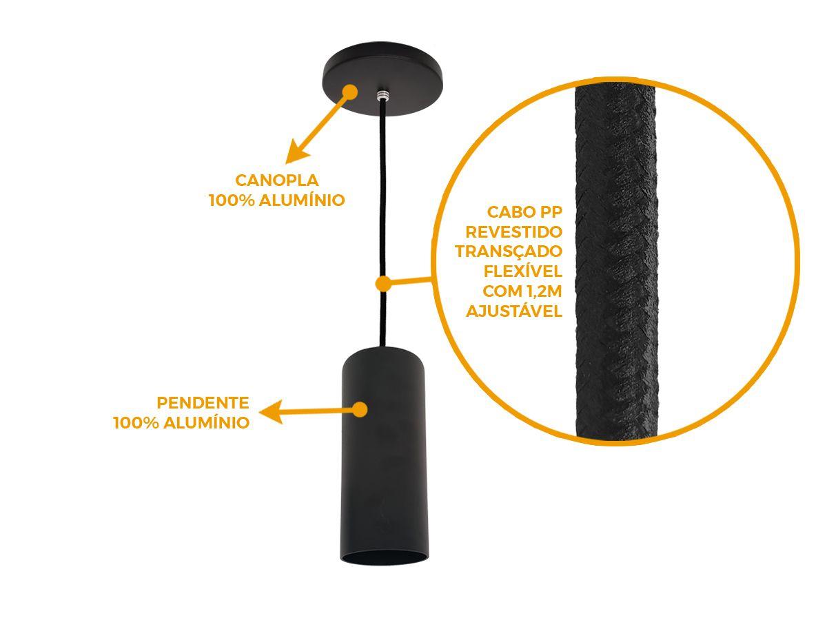 KIT 3 Pendentes Tubo Redondo para Bancada Cozinha 100% Alumínio