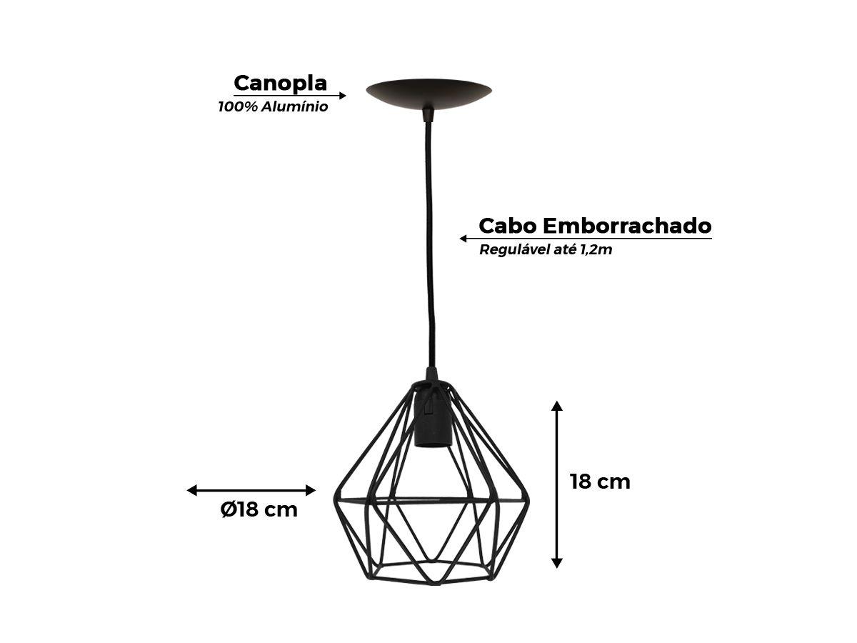 Kit 3 Trio Pendente Aramado Diamante Preto + 3 Lampadas Filamento