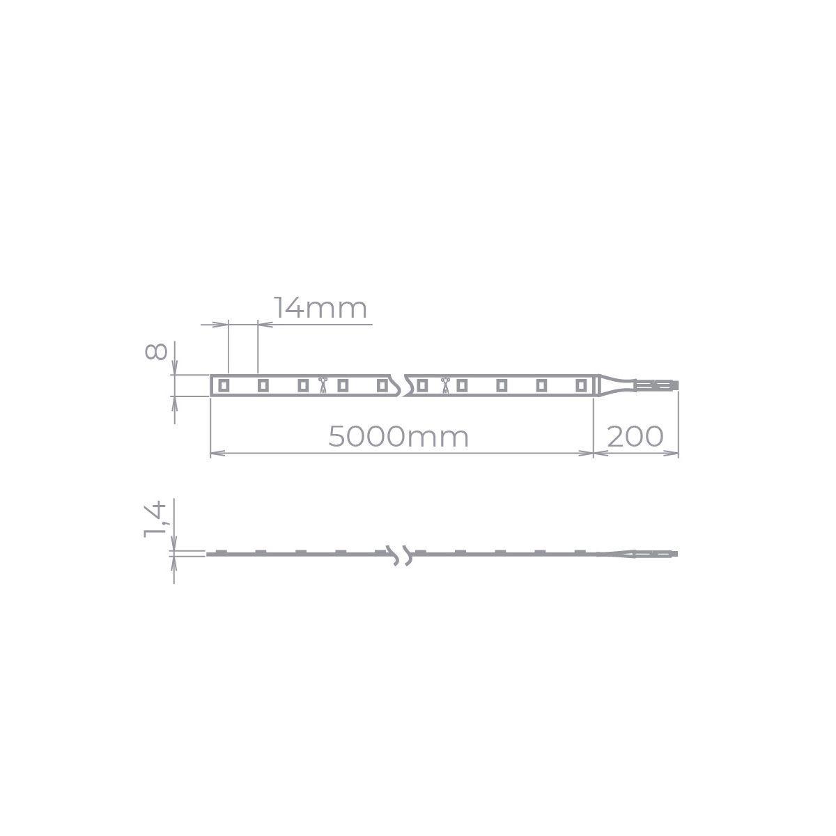Kit 3X Fita Led Profissional 5w/m 2700K + 2X FONTE 60W