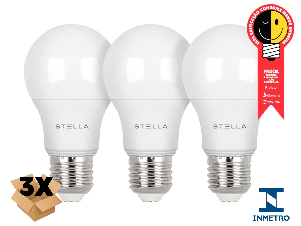 Kit 3X Lâmpada LED Bulbo A60 9W Stella - STH8265