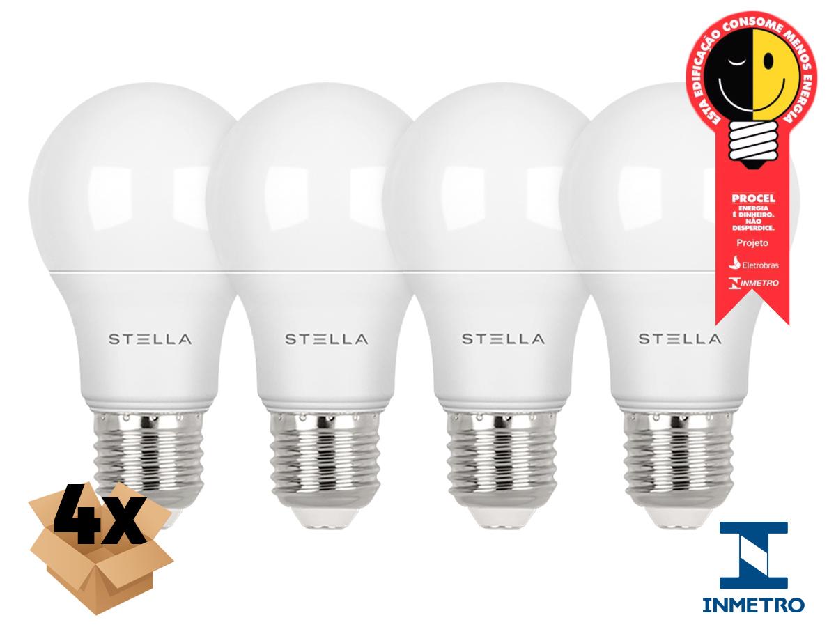 Kit 4 Lampada Led 7w E27 2700k Luz Quente Stella STH8264/27