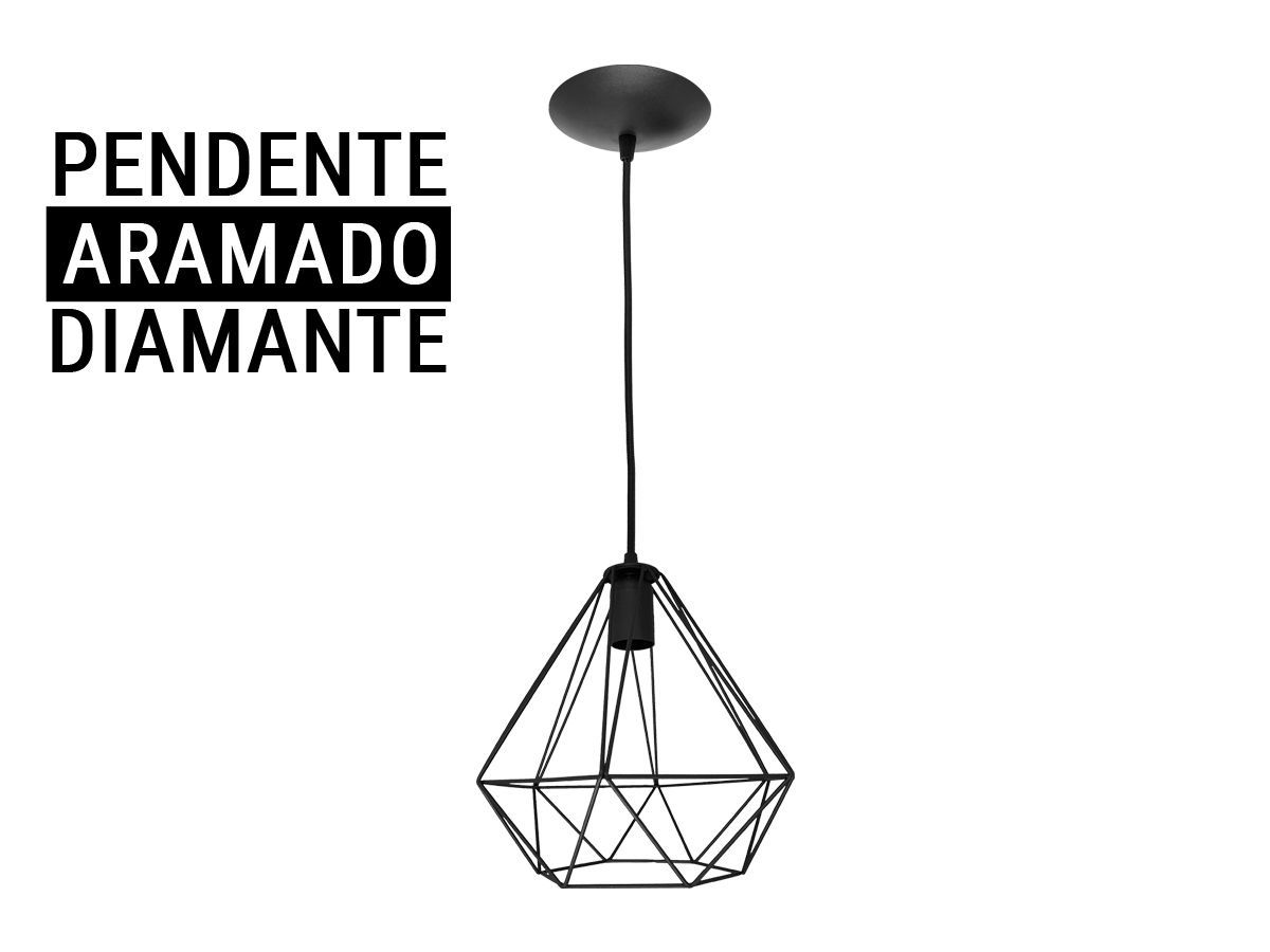 Kit 4 Pendente Aramado Diamante Preto
