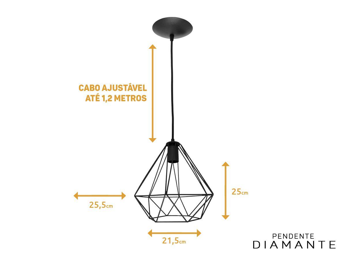 Kit 4 Pendente Aramado Diamante Preto