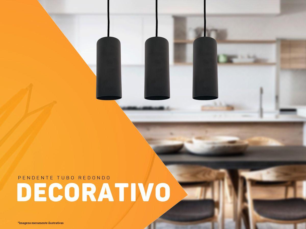 KIT 4 Pendentes Tubo Redondo para Bancada Cozinha + 5x LED 9W 4000K