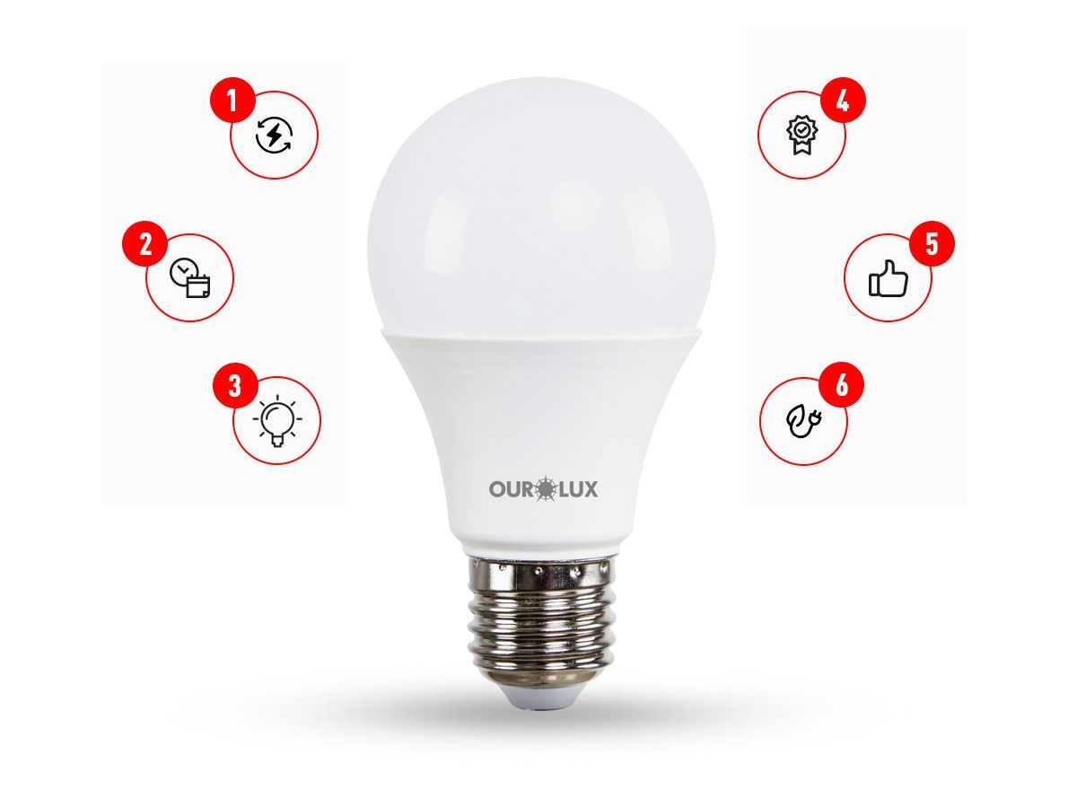 KIT 5 Lâmp LED A60 9W E27 3 Intensidades
