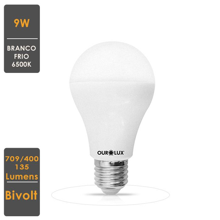 KIT 5 Lâmp LED A60 9W E27 Bivolt Dimerizável 3 Intensidades