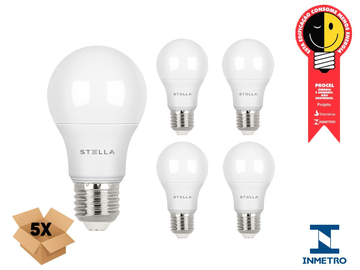 Kit 5 Lampada Led 9w E27 4000k Luz Neutra Stella Sth8235/40