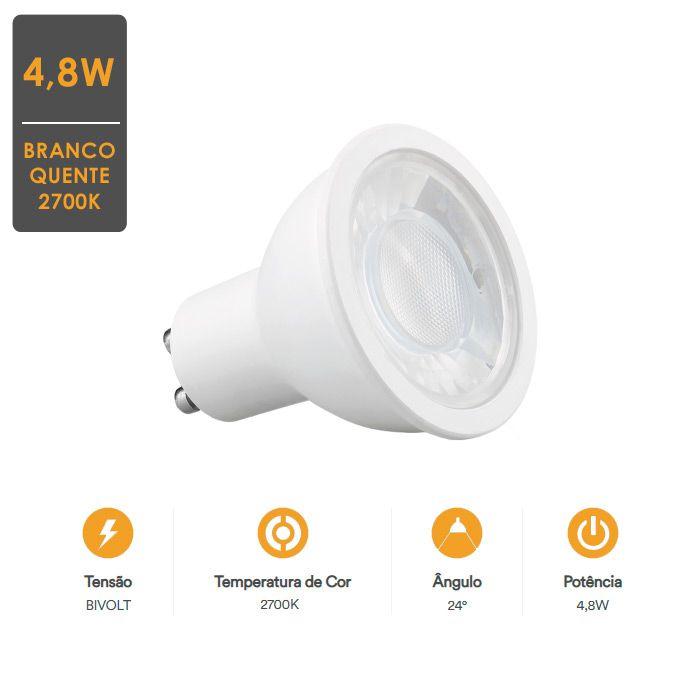 KIT 10 Lâmpada LED Dicroica LED 4,8W GU10 2700K -Qualidade Total