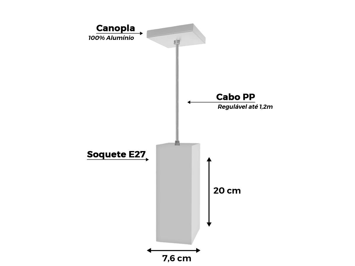 Kit 5 Pendentes Tubo Quadrado P/cozinha Canopla Quadrada