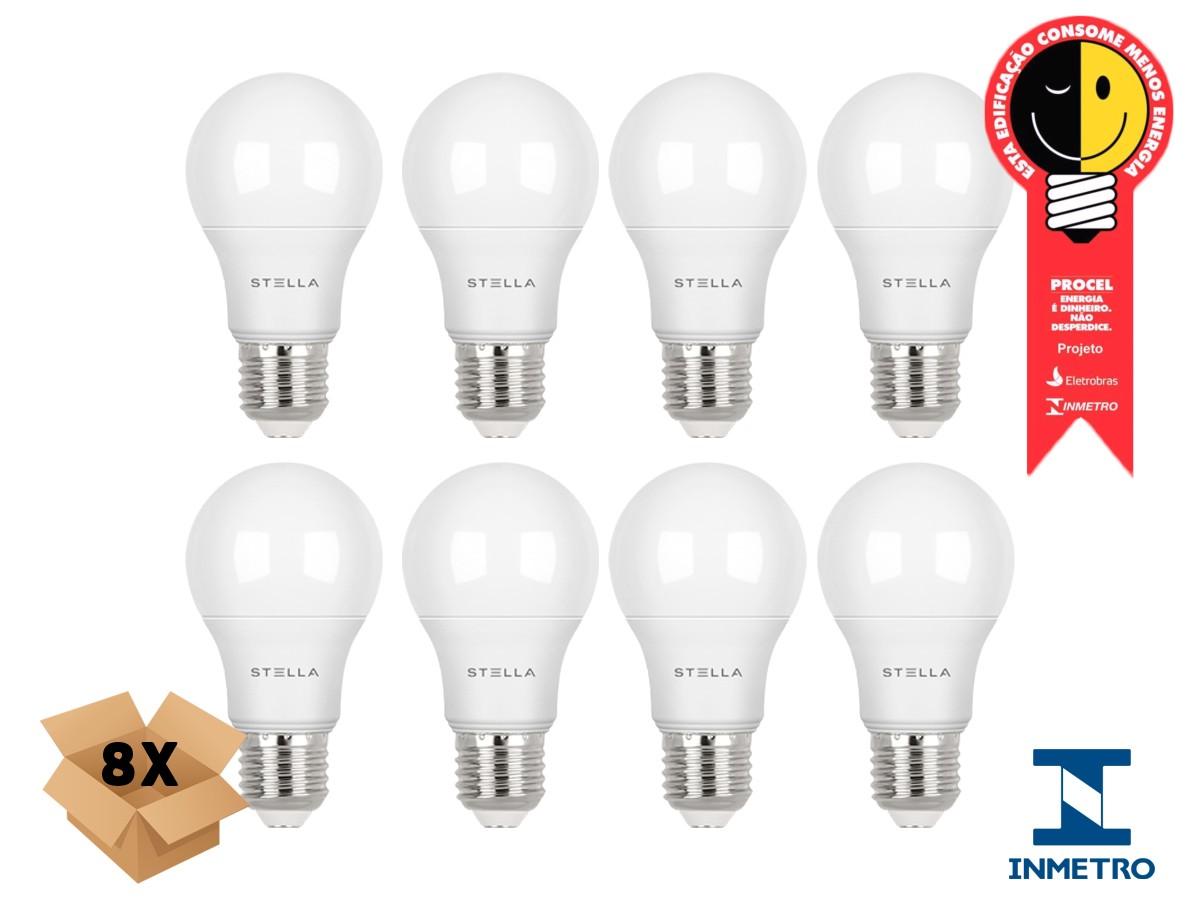 Kit 8 Lampada Led 7w E27 2700k Luz Quente Stella STH8264/27