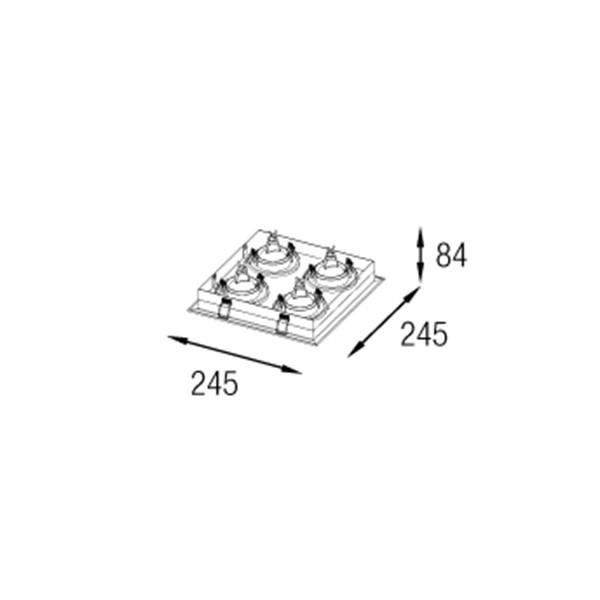 Kit Luminária Embutido Modular Revoluz + 4 Gu10 4000k