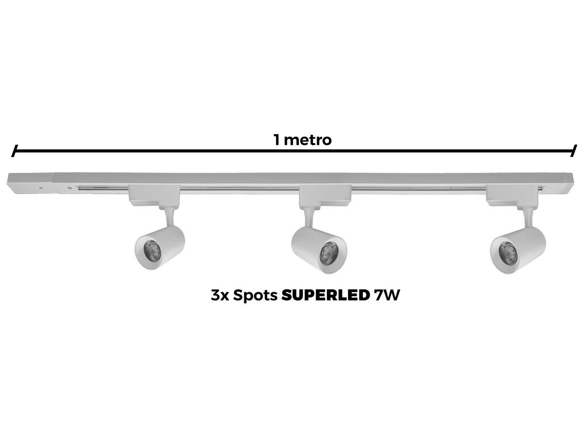 Kit Trilho Eletrificado 1 Metro + 3 Spots Led Top De Linha BRANCO