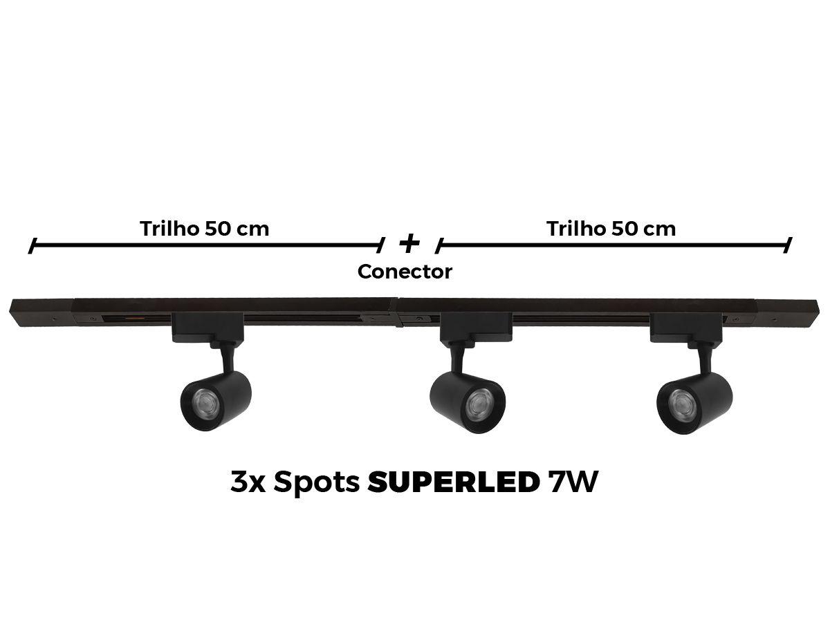 Kit Trilho Eletrificado 1 Metro + 3 Spots Led Top De Linha - PRETO