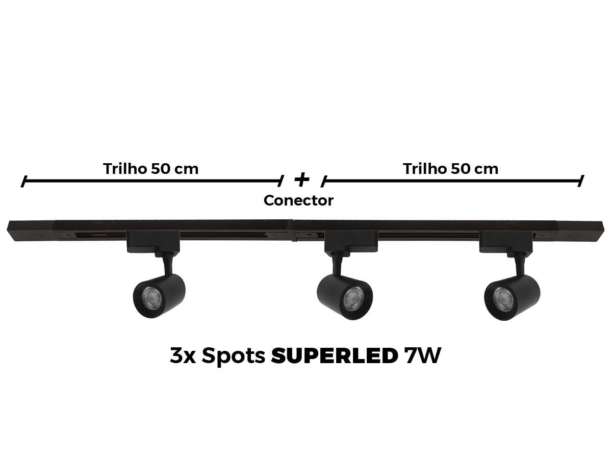 Kit Trilho Eletrificado 1 Metro + 4 Spots Led Top De Linha - PRETO