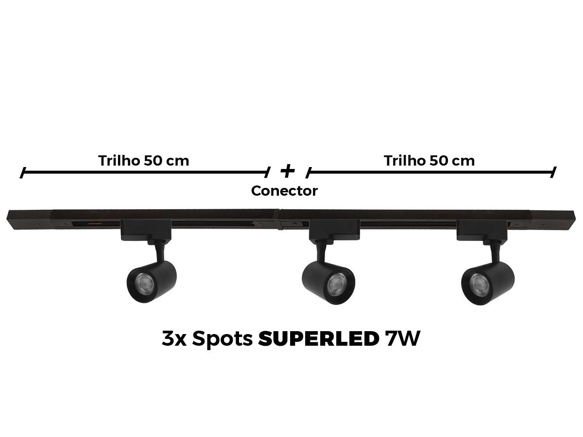 Kit Trilho Eletrificado 1 Metro + 5 Spots Led Top De Linha - PRETO