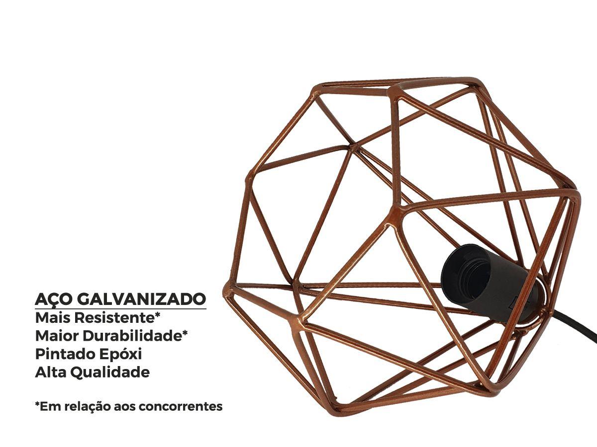 Kit Trio 3 Luminária Pendente Aramado Diamante Cobre + Lâmpada Filamento