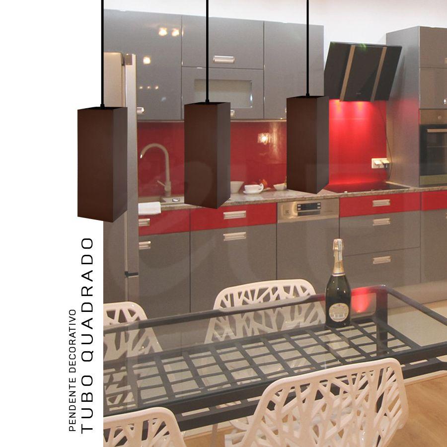 KIT Trio 3 Pendentes Tubo Quadrado para Bancada Cozinha 100% Alumínio Cabo 2 Metros