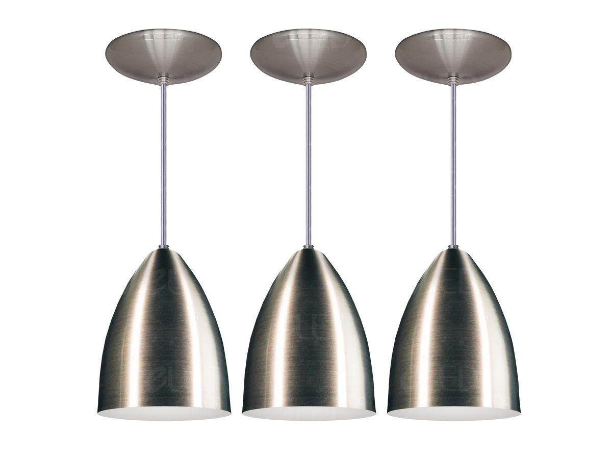 Kit Trio Pendente Cozinha Bala Cone Alumínio Escovado