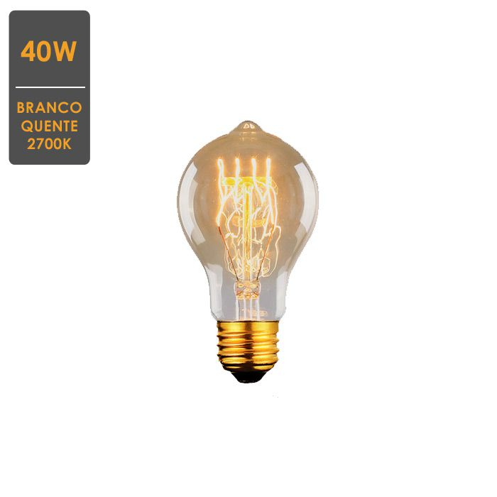 Lâmpada de Filamento de Carbono A19 40W 2700K - Retrô