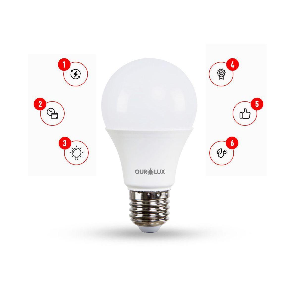 Lâmpada de LED A60 9W  E27 Bivolt  3 Intensidades
