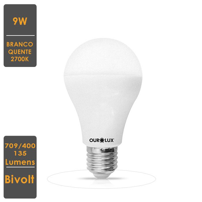 Lâmpada de LED A60 9W  E27 Bivolt 3 Intensidades Branco Quente