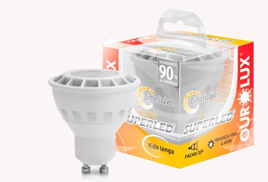 Lâmpada Dicroica 5W 3000K GU10 Dimerizável Bivolt