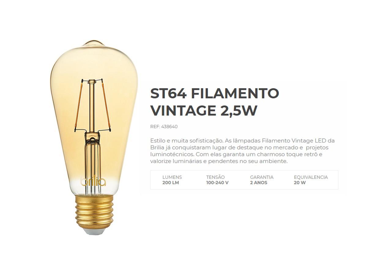 Lâmpada Filamento LED ST64 2,5W 2000K Ambar Vintage Bivolt - Brilia