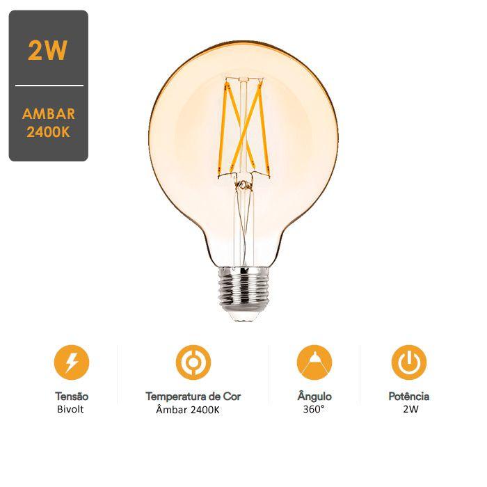 Lâmpada LED Balloon G95 E27 2W  Filamento Vintage 2400K - Stella