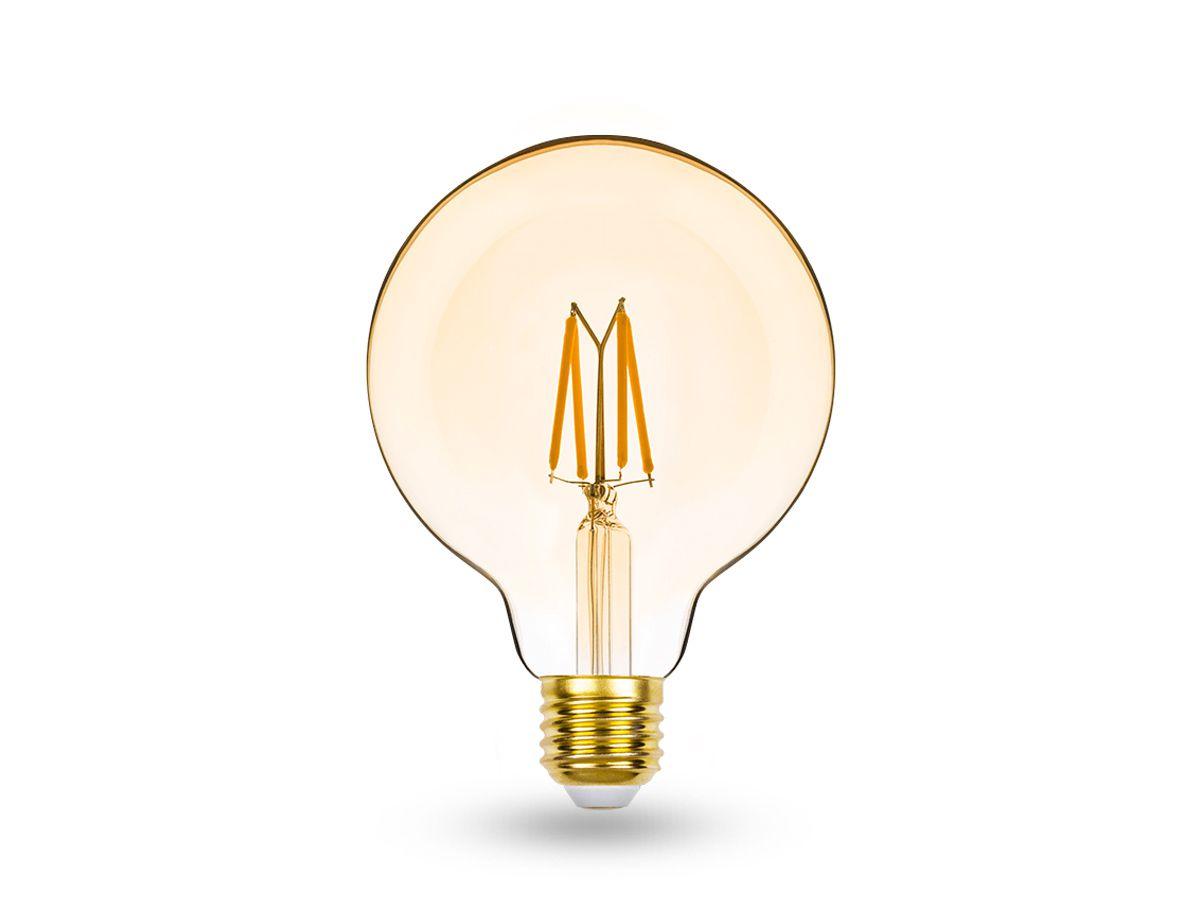 Lâmpada LED Balloon G95 E27 4,5W 2400K 127V Dimer Filamento Vintage-STH8281/24
