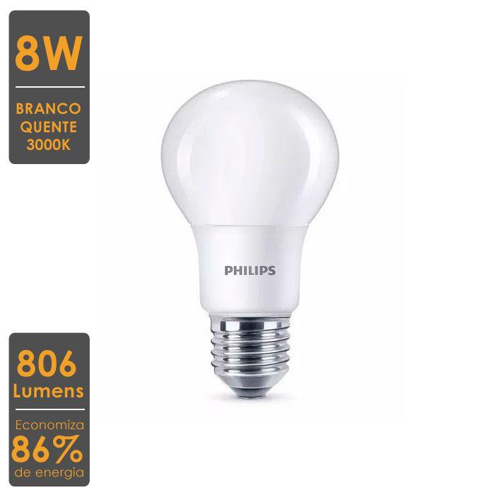 Lâmpada LED Bulbo A60 8W 3000K-Economiza 86% de Energia