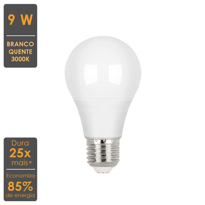 Lâmpada LED Bulbo A60 9W 3000K-Economiza 85% de Energia