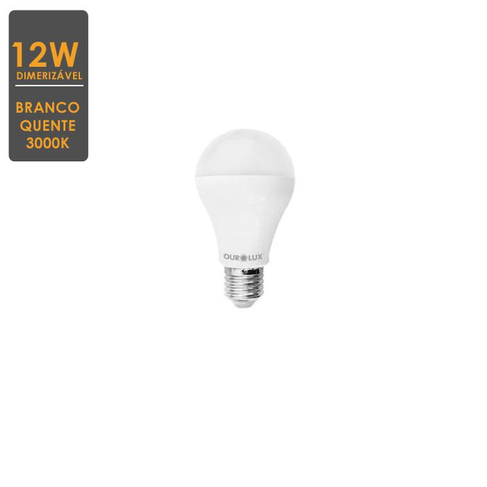 Lâmpada LED Bulbo Dimerizavel  E27 12W 3000K Bivolt  Envio Imediato