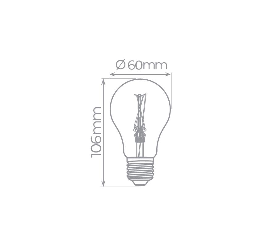 Lâmpada LED Bulbo Filamento E27 2W Vintage 2400K - Econômica