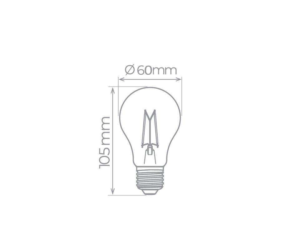 Lâmpada LED Bulbo Filamento A60 4W 2700K - Super Econômica