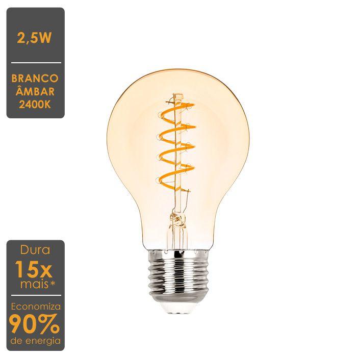 Lâmpada LED Bulbo Filamento E27 2,5W Vintage 2400K - Econômica