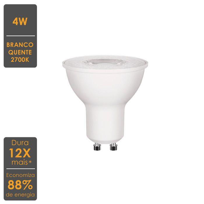 Lâmpada LED Dicroica GU10 4W 2700K - Economiza 88% de Energia