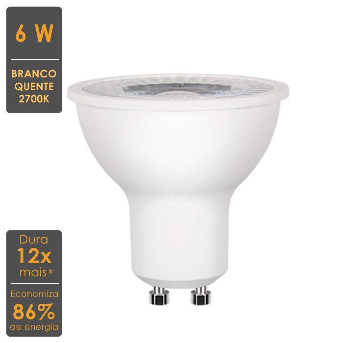 Lâmpada LED Dicroica GU10 6W 2700K - Economiza 86% de Energia