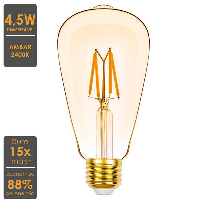 Lâmpada LED Filamento Dimerizável ST64 4,5W 2400K 220V