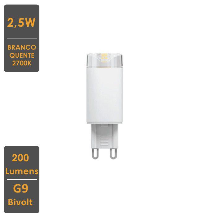 Lâmpada LED Halopin G9 2,5W 2700K - Qualidade Total